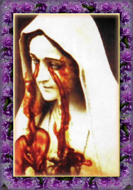 ファチマの聖母マリア像の写真から血の涙