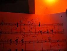 赤い照明下でのローズレッドインク