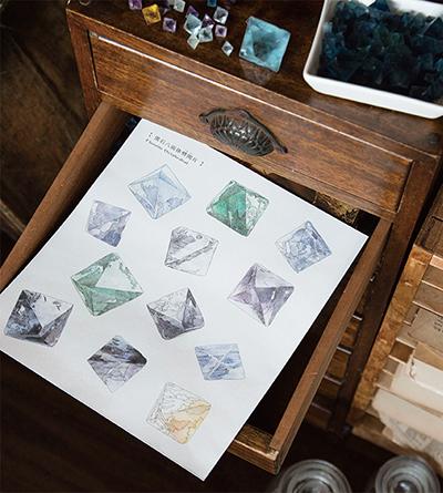 『鉱物と理科室のぬりえ』