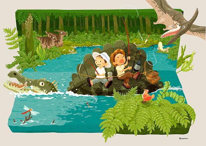 子供達と恐竜(スピノサウルス)が川に魚釣りをしているイラスト