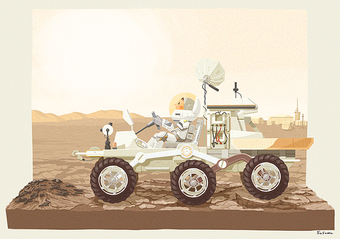 火星にて探査機にのってドライブ。