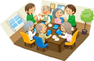 おじいさん、おばあさんたちが部屋でレクリエーションをしているイラスト