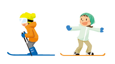 スノーボード、スキーイラスト