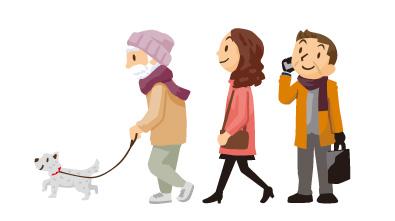 散歩するおじいさんのイラスト。女性のイラスト。携帯電話で話すおじさんのイラスト。