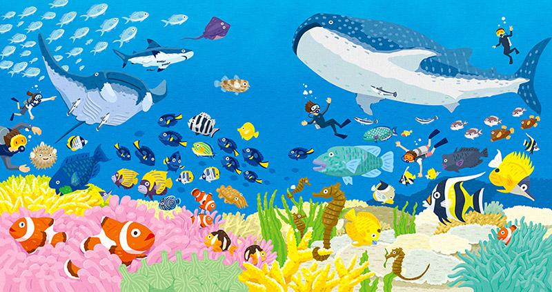 サンゴ礁のイラスト。くまのみ、ジンベイザメなど