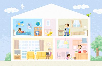 家の断面図のイラスト