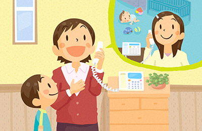 ママが楽しく電話しているイラスト