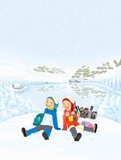 冬のイラスト。スノーシューで山登り。