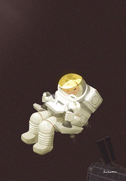 宇宙遊泳をしながら月を見るイラスト