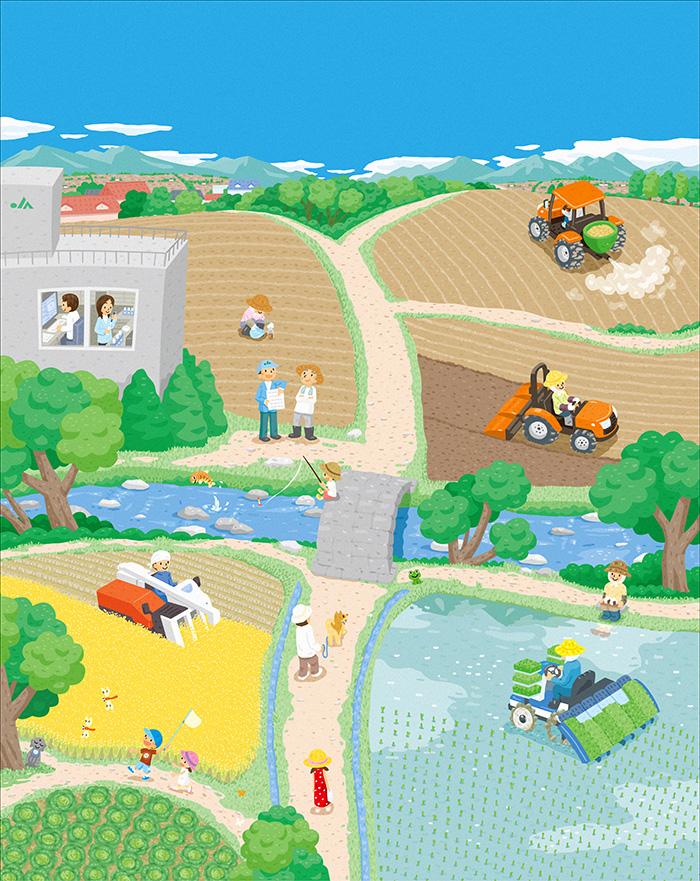 畑、田んぼ、トラクターのイラスト