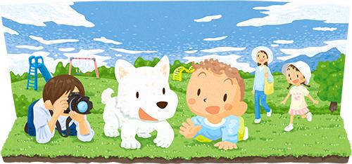 公園と赤ん坊イラスト