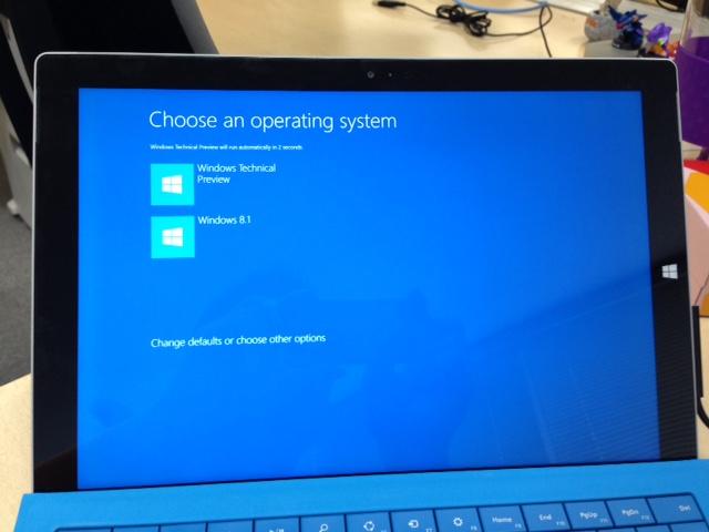 Surface Pro 3 のデュアルブート画面