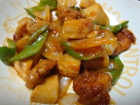 鶏とタケノコのケチャ甘酢炒め
