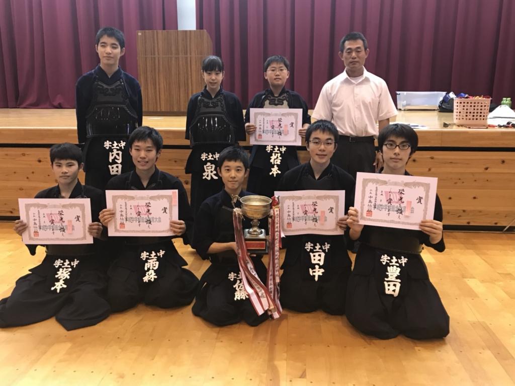 a04cb2270b2 本日、開催された宇城中体連剣道大会において生徒全員が自分の力を精一杯出しきり、素晴らしい成績を残すことができました。これからも周囲の方々への感謝の気持ちを  ...