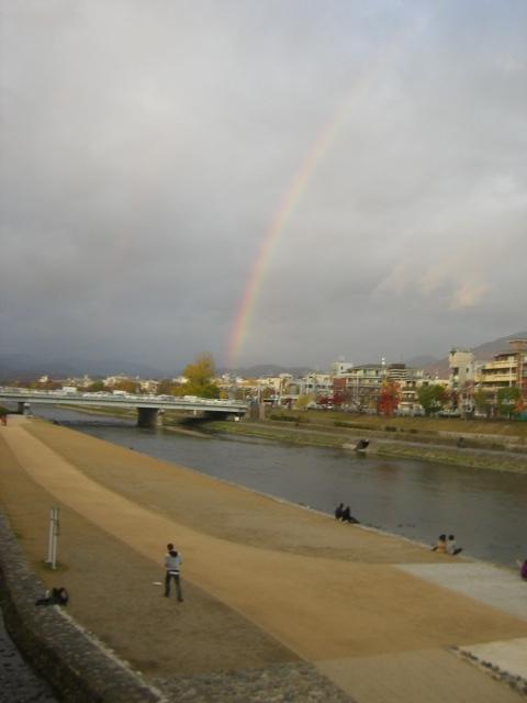 加茂川と虹