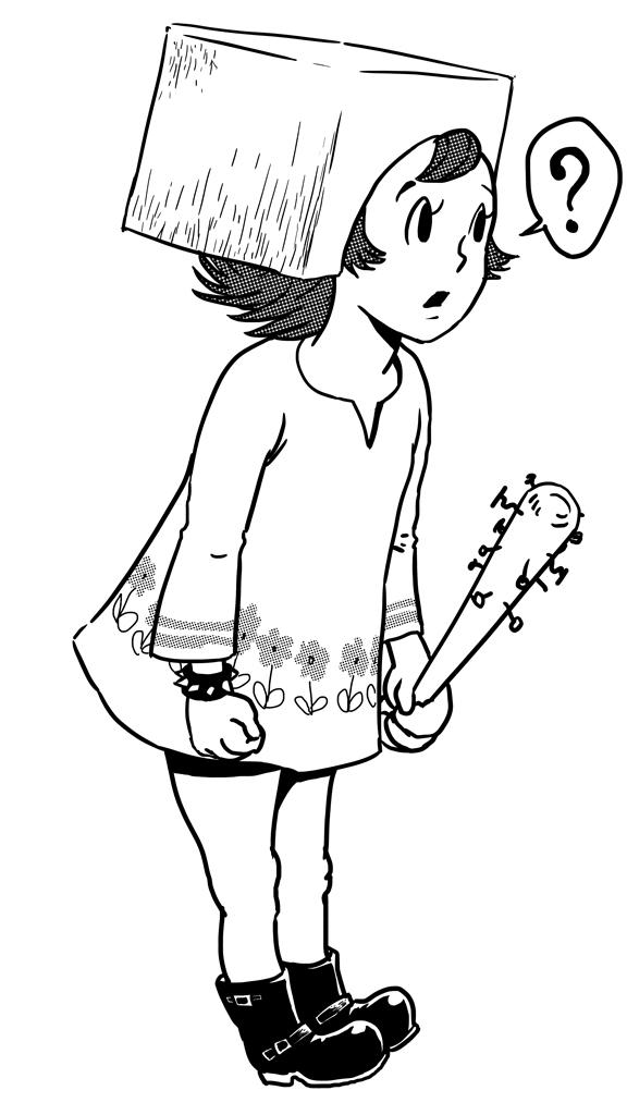 豆腐ヘッドちゃん with 釘バット (ink)