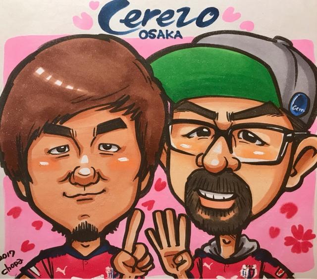 セレッソ大阪メガストア似顔絵イベントの似顔絵サンプル。丸橋祐介選手と店長さんを並べて描きました。