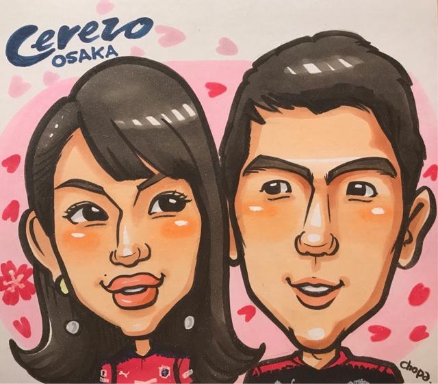 セレッソ大阪メガストア似顔絵イベントの似顔絵サンプル。キムジンヒョン選手とスタッフさんを並べて描きました。