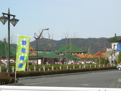 燕趙園の近くから梅渓の目印の旗が見えます。