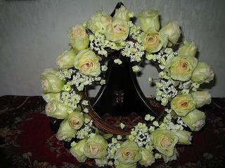 白い薔薇のリース・・・