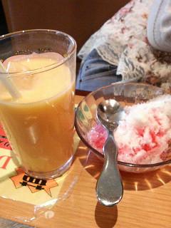カキ氷とミックスジュース