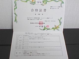 エレクトーングレード6級の合格証書☆