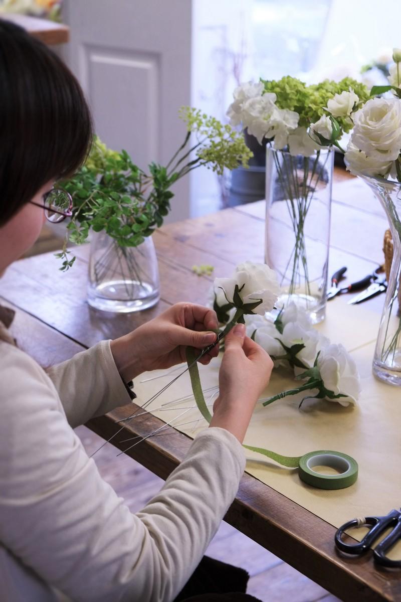 名古屋市造花のウェディングブーケレッスン