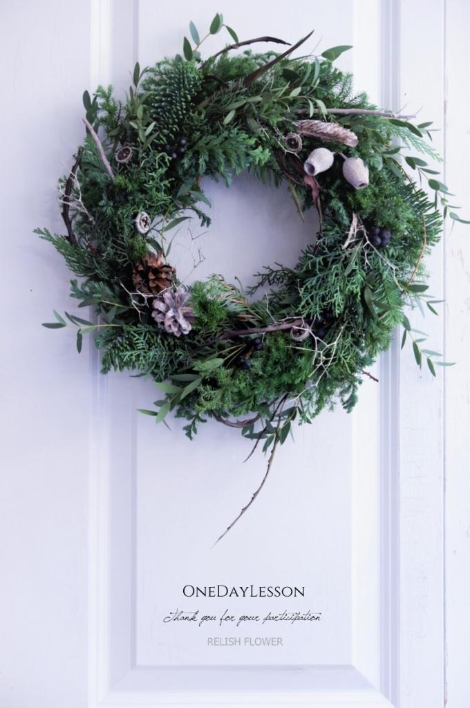 生花のクリスマスリース