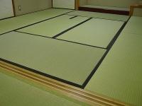 茶室炉付き畳。西藩製棕櫚裏シート仕様の高級わら床新畳施工例�