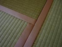 """""""自然の恵みが肌にやさしい""""国産(熊本産)無着色無添加で天然染土を使用したエコノミークラスのピンクの畳縁の新畳�"""