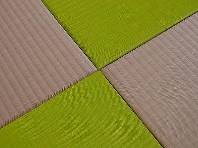 """ピンクとアップルグリーンの東レ""""敷楽""""「彩美」人工カラー縁無し琉球タイプの置き畳たたみの施工例?"""