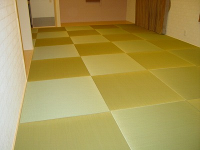 何帖?めっちゃ広い部屋の縁無し畳施工例。�