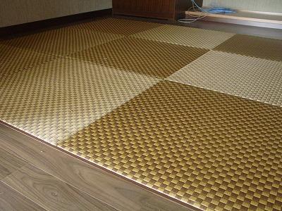 天然い草全面市松柄カラーへりなし畳(りゅうきゅう畳)の施工例�