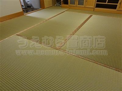 ももいろ萩柄畳縁×無添加天然い草畳表=きなり畳。へり付き畳施工例(大東市)きなり畳のうえむらたたみ1