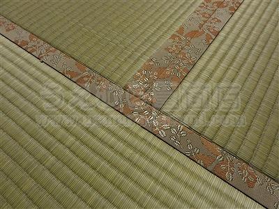 ももいろ萩柄畳縁×無添加天然い草畳表=きなり畳。へり付き畳施工例(大東市)きなり畳のうえむらたたみ2