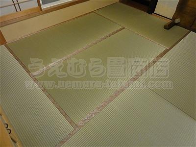 ももいろ萩柄畳縁×無添加天然い草畳表=きなり畳。へり付き畳施工例(大東市)きなり畳のうえむらたたみ3