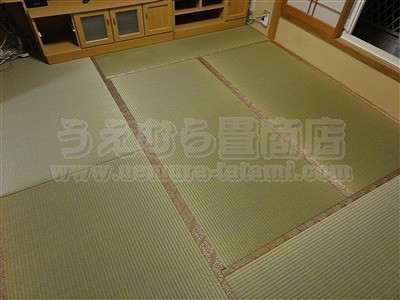 ももいろ萩柄畳縁×無添加天然い草畳表=きなり畳。へり付き畳施工例(大東市)きなり畳のうえむらたたみ4