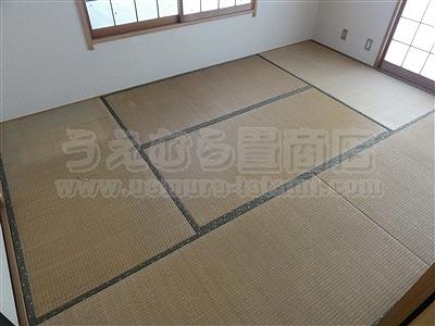 極太(GOKUBUTO)×デニム デザイン敷きを楽しむ きなり畳施工事例。縁無し琉球畳・へり付き畳・介護畳・お風呂畳・ペット畳のうえむら畳1