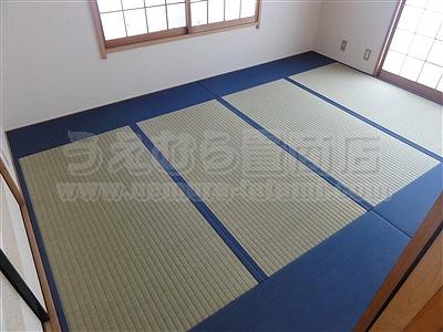 極太(GOKUBUTO)×デニム デザイン敷きを楽しむ きなり畳施工事例。縁無し琉球畳・へり付き畳・介護畳・お風呂畳・ペット畳のうえむら畳4