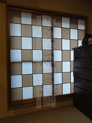 モダン張り?風合いそのままでやぶれないカラー障子 市松細工張り 施工事例(大阪府大東市)たたみ・ふすま・しょうじ・琉球畳・ペット用畳・介護用畳・うえむら畳商店1
