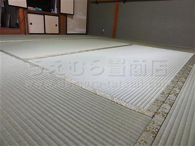 """""""きなり畳""""シリーズ健康ひのき畳へり付き新畳施工事例。大阪府大東市のカラー琉球畳、洗える畳、介護畳、お風呂畳などいまどきの畳屋さんうえむら畳7"""