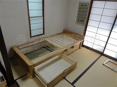 〜世界に一つオーダー畳(たたみ)ベッド快適生活〜高さや引き出し立ち上がり手すり身体にあわせた畳ベッド製作4