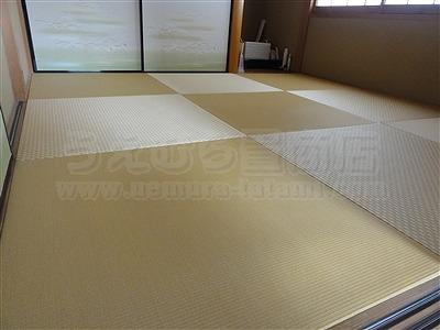 カラー暖色系縁無し琉球畳4帖半間施工事例(大阪府大東市)いまどきの畳屋さんうえむら畳7
