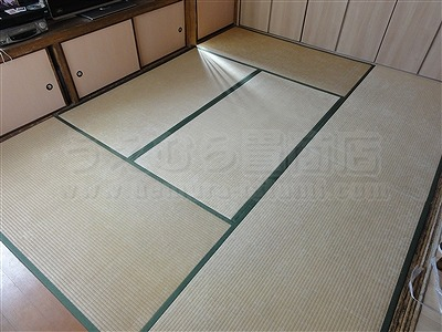 カラー市松柄縁無し琉球畳が6帖間のお部屋をステキに模様替え(大阪大東市)1