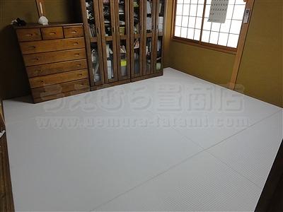 純白色縁無し琉球畳に模様替えでウキウキ暮らし・・・。大阪家庭用国産畳専門店うえむら畳7