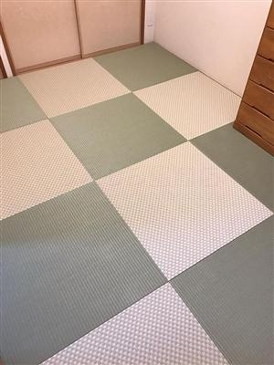 グリーンが良いんです。カラー縁無し琉球畳(セキスイ美草)大阪大東市6帖間施工例家庭用国産畳専門店うえむら畳2