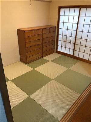 グリーンが良いんです。カラー縁無し琉球畳(セキスイ美草)大阪大東市6帖間施工例家庭用国産畳専門店うえむら畳3