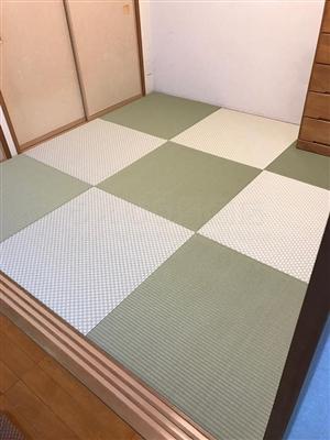 グリーンが良いんです。カラー縁無し琉球畳(セキスイ美草)大阪大東市6帖間施工例家庭用国産畳専門店うえむら畳4