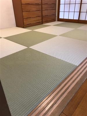 グリーンが良いんです。カラー縁無し琉球畳(セキスイ美草)大阪大東市6帖間施工例家庭用国産畳専門店うえむら畳6
