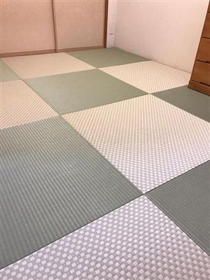 グリーンが良いんです。カラー縁無し琉球畳(セキスイ美草)大阪大東市6帖間施工例家庭用国産畳専門店うえむら畳7